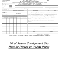 "Form 74-036Y ""Bill of Sale or Consignment"" - California"