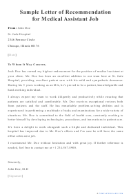 "Sample ""Letter of Recommendation for Medical Assistant Job"""