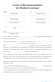 """Letter of Recommendation for Medical Assistant Template"""