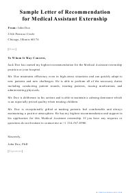 "Sample ""Letter of Recommendation for Medical Assistant Externship"""