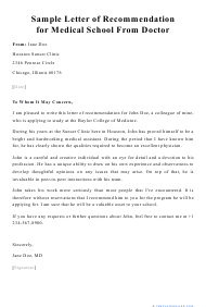 "Sample ""Letter of Recommendation for Medical School From Doctor"""