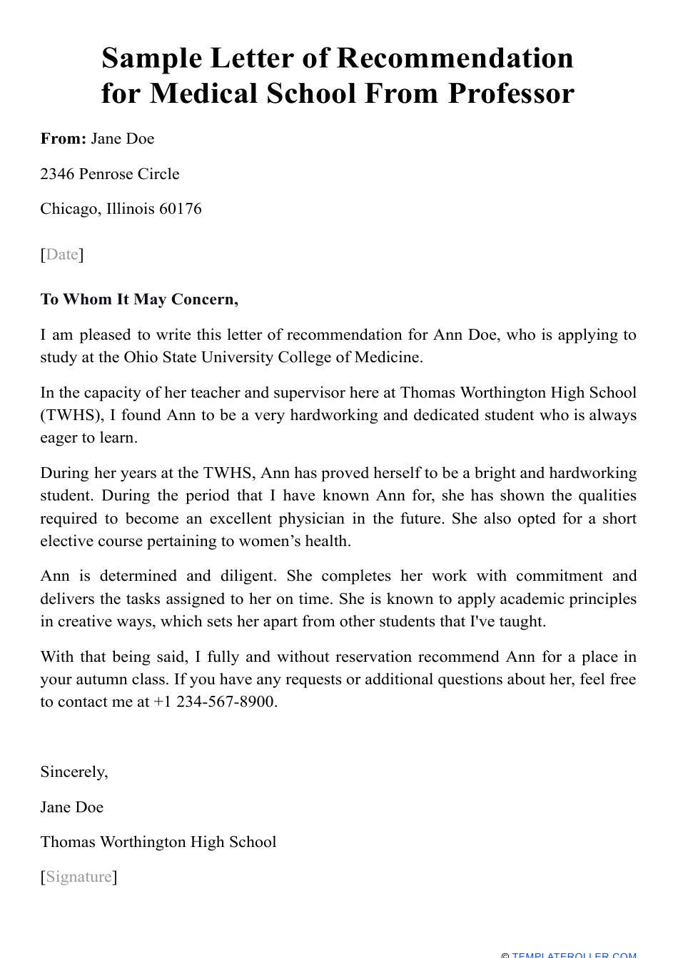 Sample Letter Of Recommendation For