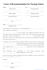 """Letter of Recommendation for Nursing School Template"""