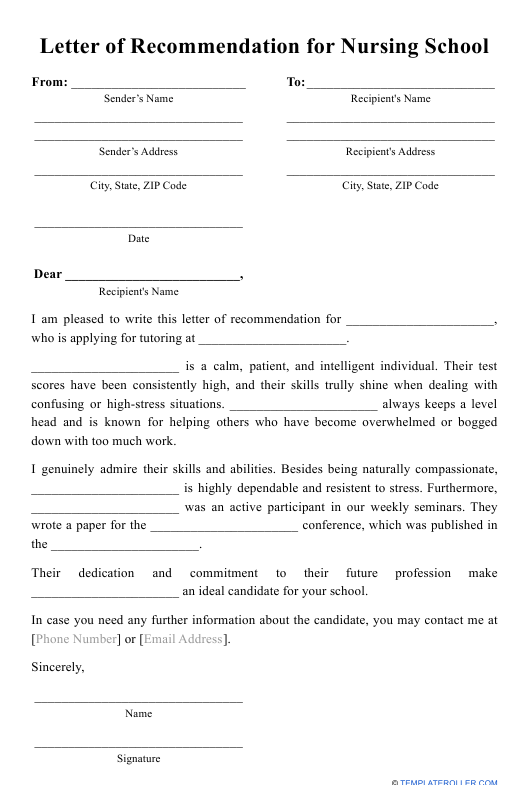 """Letter of Recommendation for Nursing School Template"" Download Pdf"