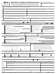 """IRS Form SS-4 """"Application for Employer Identification Number"""""""