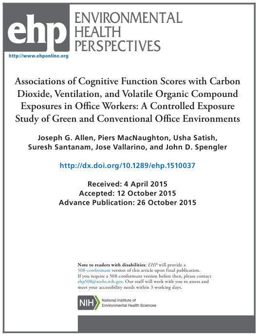 """""""Associations of Cognitive Function Scores With Carbon Dioxide, Ventilation, and Volatile Organic Compound Exposures in Office Workers: a Controlled Exposure Study of Green and Conventional Office Environments"""" Download Pdf"""