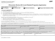 "Form DCF-F-DWSP2471 ""Wisconsin Works (W-2) and Related Programs Application"" - Wisconsin"