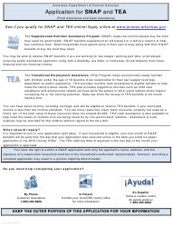 "Form DCO-215 ""Application for Snap and Tea"" - Arkansas"