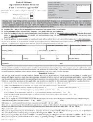 "Form DHR-FSP-2116 ""Food Assistance Application"" - Alabama"