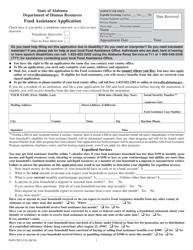 """Form DHR-FSP-2116 """"Food Assistance Application"""" - Alabama"""