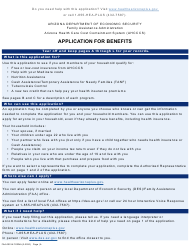 "Form FAA-0001A ""Application for Benefits"" - Arizona"