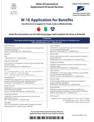 "Form W-1E ""Application for Benefits"" - Connecticut"