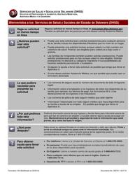 """Formulario 100 """"Solicitud De Prestaciones De Alimentos, Asistencia Monetaria, Asistencia Medica Y De Guarderia"""" - Delaware (Spanish)"""