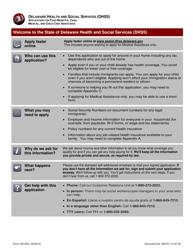 "Form 100 ""Application for Food Benefits, Cash, Medical, and Child Care Assistance"" - Delaware"