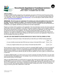 "Form SNAPA-1 ""Supplemental Nutrition Assistance Program Application for Seniors"" - Massachusetts"