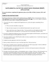 "Form DPHHS-HCS-252 ""Supplemental Nutrition Assistance Program (Snap) Application"" - Montana"