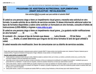 """Formulario LDSS-4826 SP """"Solicitud / Revalidacion De Subsidio Snap"""" - New York (Spanish)"""