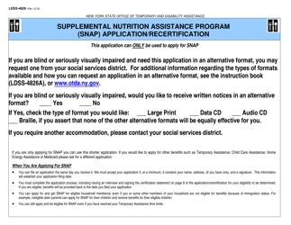 "Form LDSS-4826 ""Snap Application / Recertification"" - New York"