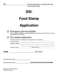 "Form DSS8207-SSI ""Ssi/ Food Stamp Application"" - North Carolina"