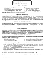"""Form 032-03-0824-34 """"Application for Benefits"""" - Virginia"""