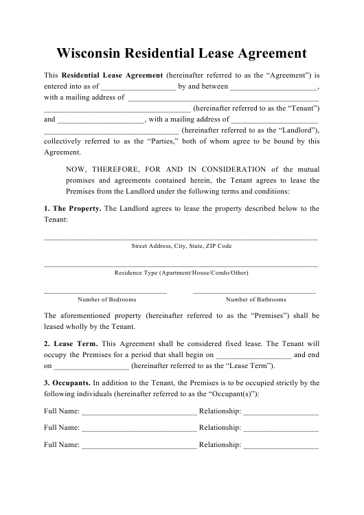 """Residential Lease Agreement Template"" - Wisconsin Download Pdf"