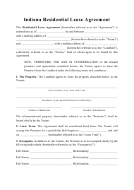"""Residential Lease Agreement Template"" - Indiana"