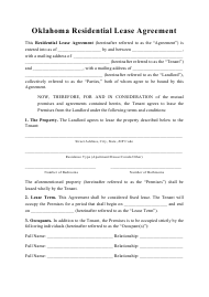 """Residential Lease Agreement Template"" - Oklahoma"