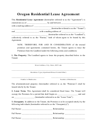 """Residential Lease Agreement Template"" - Oregon"
