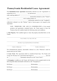 """Residential Lease Agreement Template"" - Pennsylvania"