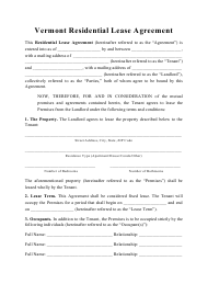 """""""Residential Lease Agreement Template"""" - Vermont"""