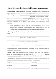 """Residential Lease Agreement Template"" - New Mexico"