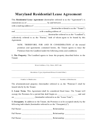 """Residential Lease Agreement Template"" - Maryland"