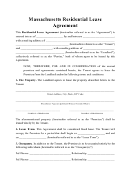 """Residential Lease Agreement Template"" - Massachusetts"