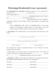 """Residential Lease Agreement Template"" - Mississippi"