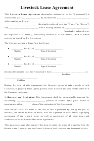"""""""Livestock Lease Agreement Template"""""""