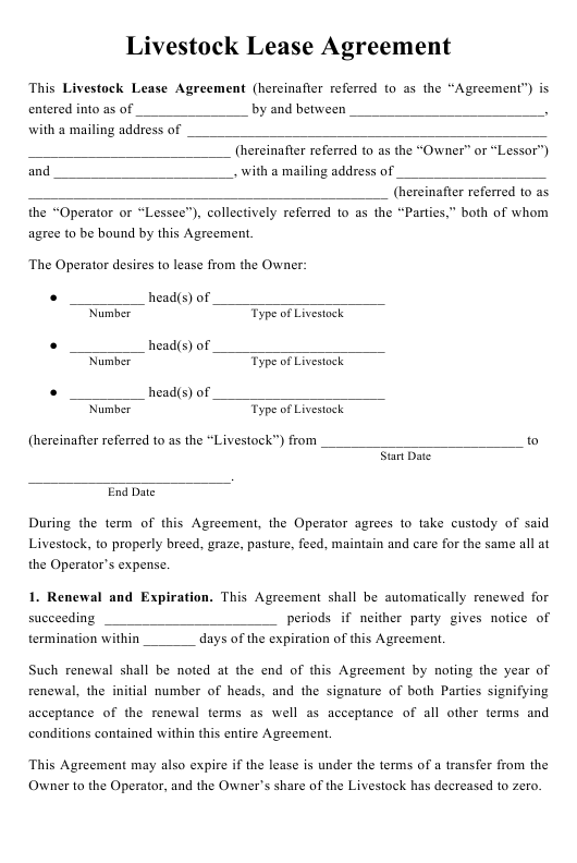 """""""Livestock Lease Agreement Template"""" Download Pdf"""