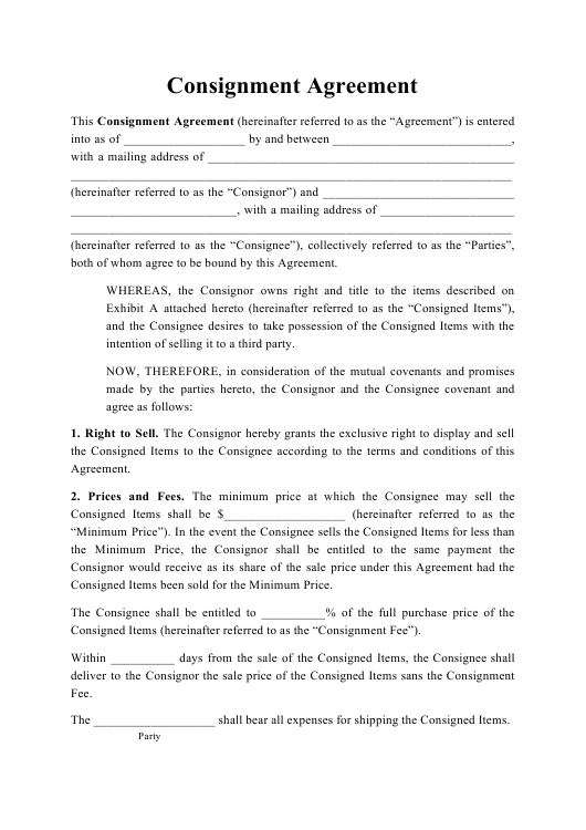 """Consignment Agreement Template"" Download Pdf"