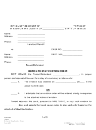 "Form 26 ""Motion to Stay Eviction Order"" - Nevada"
