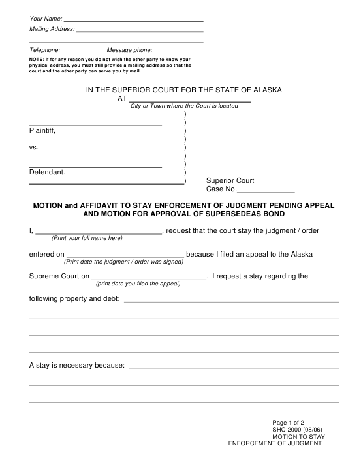 Form SHC-2000  Printable Pdf