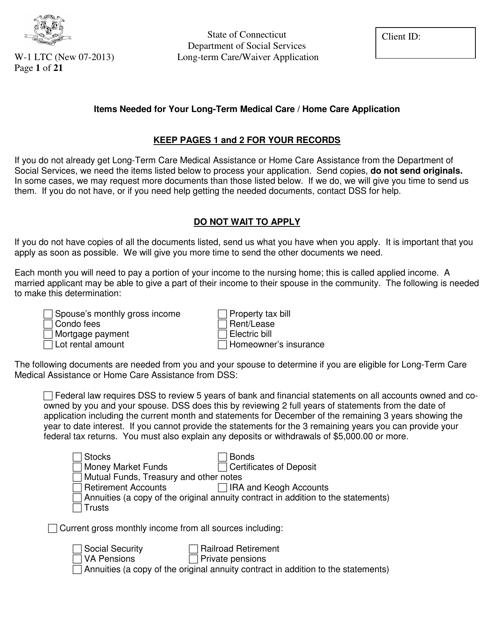 Form W-1 LTC  Printable Pdf