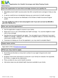 """Form 470-5170 """"Application for Health Coverage and Help Paying Costs"""" - Iowa"""