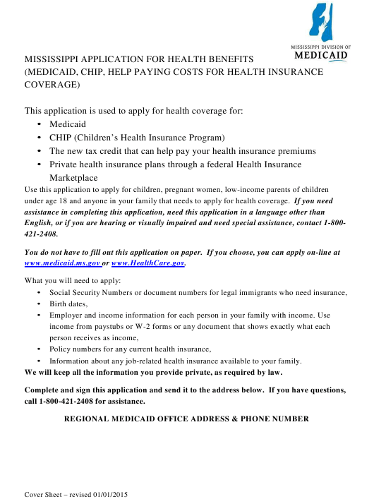 Mississippi Mississippi Application for Health Benefits ...