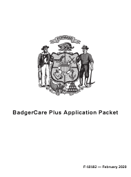 "Form F-10182 ""Badgercare Plus Application Packet"" - Wisconsin"