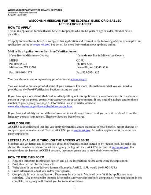 Form F-10101  Printable Pdf