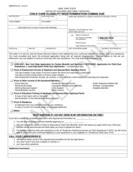 "Sample Form OCFS-4773 ""Child Care Eligibility Redetermination Coming Due"" - New York"
