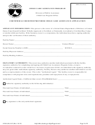 "Form CC84 (06-4115) ""Certified/Accredited Provider Child Care Assistance Application"" - Alaska"