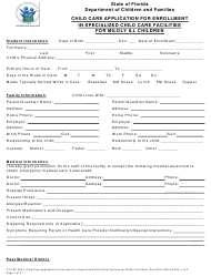 "Form CF-FSP5241 ""Child Care Application for Enrollment in Specialized Child Care Facilities for Mildly Ill Children"" - Florida"