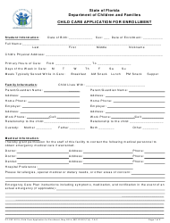 "Form CF-FSP5219 ""Child Care Application for Enrollment"" - Florida"