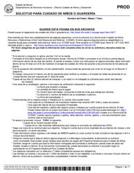 """Formulario IL444-3455SI """"Solicitud Para Cuidado De Ninos O Guarderia"""" - Illinois (Spanish)"""