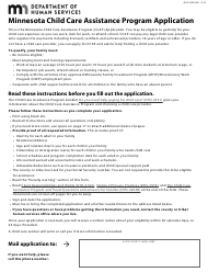 "Form DHS-3550-ENG ""Minnesota Child Care Assistance Program Application"" - Minnesota"